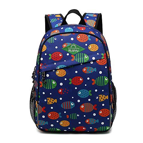Tofern - Zaino scolastico con motivo graffiti, design ergonomico, antiurto, per computer portatile, tablet, ragazza, bambino, cartella da viaggio Poisson