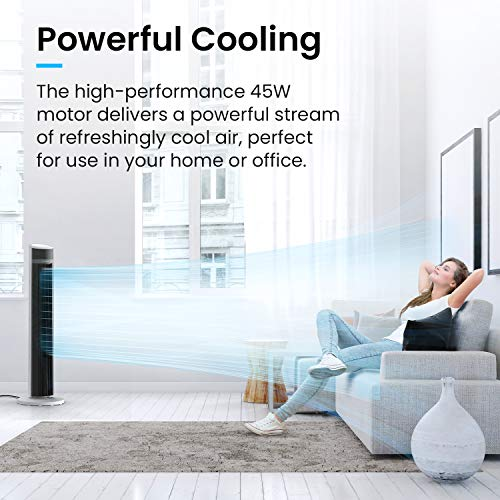 Pro Breeze Oscillating 40-inch Tower Fan, Powerful 45W Motor Portable Fan, 3 Cooling Fan Speeds, 4 Operational Modes and 15 Hour Timer for Home & Office