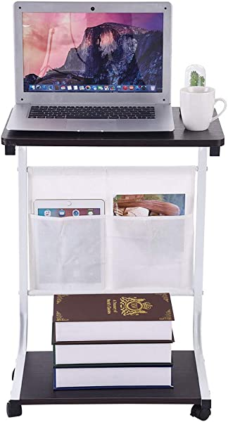 Inkach Mobile Laptop Stand With Wheels Computer Desk Notebook Holder Books Storage Over Bed Table For Bed Sofa Moveable Bedside Table Black