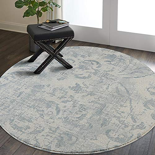 Lahome Damask Area Rug - 3' Diameter Faux Wool Non-Slip Area Rug Accent Distressed Throw Rugs Floor Carpet for Living Room Bedrooms Laundry Room Decor (3' Diameter, Gray)