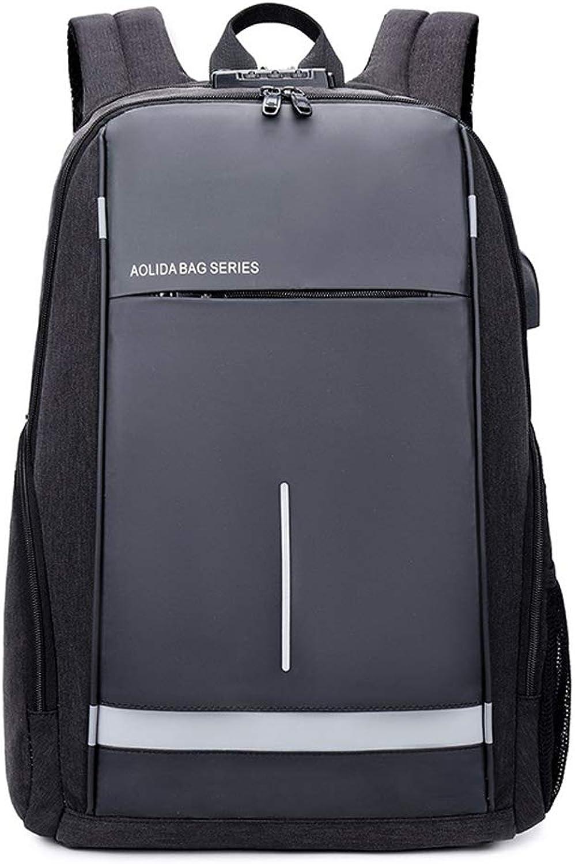 QYSZYG Oxford Tuch Computer Tasche mnnlichen Rucksack Student Tasche Business typ Passwort diebstahlsicherung USB wasserdichter Rucksack (Farbe   schwarz)