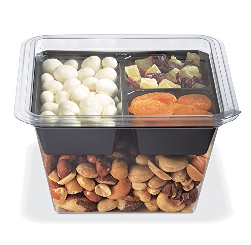 PLACON Fresh'n Clear GOCUBES Set: 32 oz Clear Plastic Container with 3-Compartment Black Insert Tray and Clear Lid, (50 Sets), PET Material