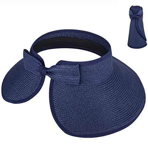 Maylisacc Rollbar Sonnenhut Damen für Reise Urlaub Einheitsgröße, Navy Blue (1 Pack)