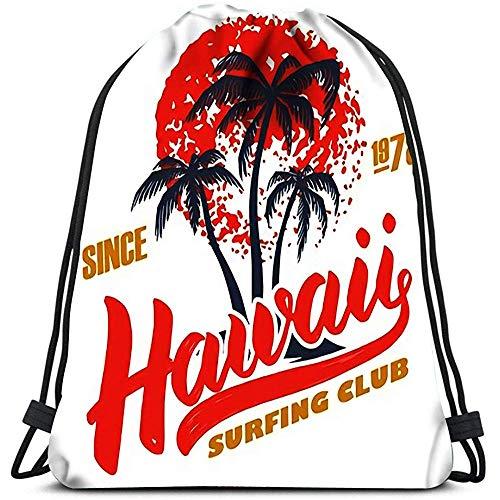 Dingjiakemao Gimnasio Bolsa Mochila con Cordón Bolsas Plantilla De Póster del Hawaii Surfing Club con Imagen Y Palmas Bolsas De Hombro Portátiles Bolsa De Deporte De Viaje Deportivo