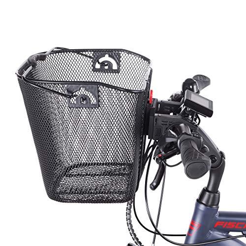 Fischer Lenkerkorb mit Schnellbefestigung, speziell für E-Bikes entwickelt, Tragkraft 5kg, passend für alle gängigen Displays mit einer Breite von 9 cm, u.a. für BOSCH Displays