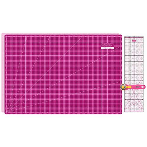 SEMPLIX Schneidematten Set - Schneideunterlage 90 x 60 cm (A1), Rollschneider Maxi 45 mm, Patchwork Lineal 60x15 cm (pink/Beere)