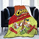 JooKrrix Flannel Fleece Blanket with Pompom Fringe, Cozy Breathable Queen Size Comfort Bed Blanket Food Funny Animal Ch-ee-TOS Art Throw Blanket fit for Couch Living Room Dorm, 50x40 inch