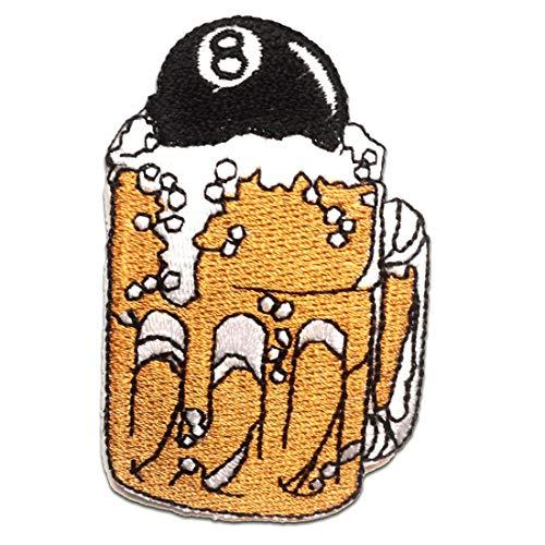Toppe termoadesive - birra biliardo - oro - 4.5x7.5cm - Patch Toppa ricamate Applicazioni Ricamata da cucire adesive