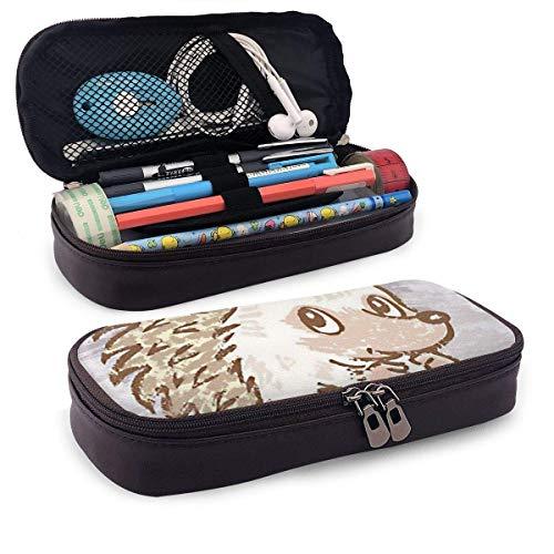 Lederen mapje Hedgehog Sit Pouch voor PU-leer Multifunctionele Office Pen Case speciale middenschool verjaardag briefpapier zak ritssluiting College Waterdicht