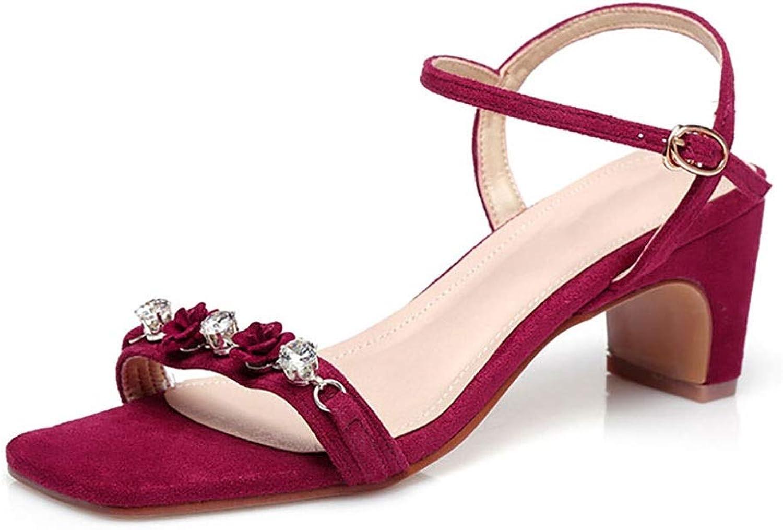 CHEXIAO Damen Sandalen, SommerBlaumen Strass Sexy High Heels, Schwarz Rot 6cm (Farbe   Rot, gre   39 EU)