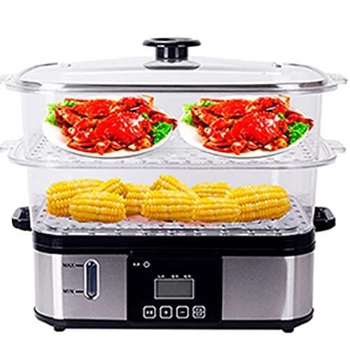 Vaporeras eléctricas de cocina,Alimentador eléctrico de gran capacidad, acero inoxidable, 2 capas,...