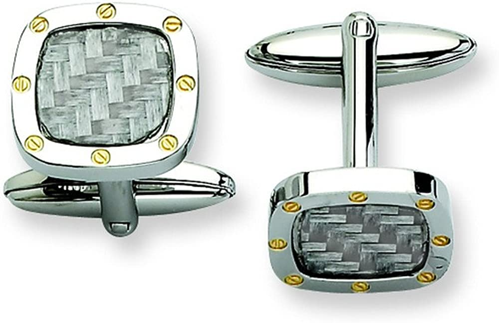Stainless Steel Grey Carbon Fiber W/Gold Ipg-Plated Cuff Links