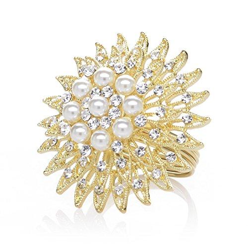 AW BRIDAL Napkin Rings Set of 12 Gold Rhinestone Napkin Rings Vintage for Christmas, Thanksgiving