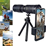 4K 10-300x40mm Super Telephoto Zoom Monocular Telescope, High Definition Monocular Telescope for Waterproof Travel Camping Beach Bird Watching Concerts Football Matches (Black/Include(1x Tripod))
