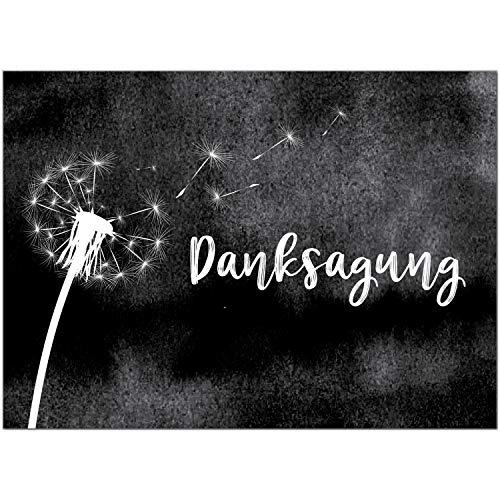 Trauer Danksagungskarten mit Umschlag   Motiv: Pusteblume auf schwarz, 15 Stück   Dankeskarten DIN A6 Set   Trauerkarten Danksagung Danke sagen