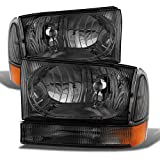 ACANII - For 1999-2004 Ford F250 F350 F450 SuperDuty Excursion Smoked Lens Headlights w/Bumper Corner Signal Lamps Pair