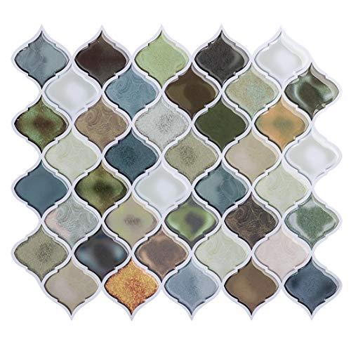 Pegatinas de Baldosas, 4 Piezas Azulejos Adhesivos 28x25cm Auto-Adhesivo Pegatina de Pared Impermeable Pegatinas de Azulejos para Cocina y Baño (A02-4 Piezas)