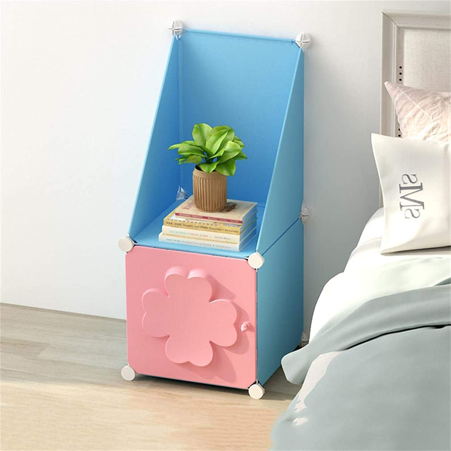 ALUS- Bedside Table Simple Multi-Functional Assembly Locker Mini Storage Cabinet