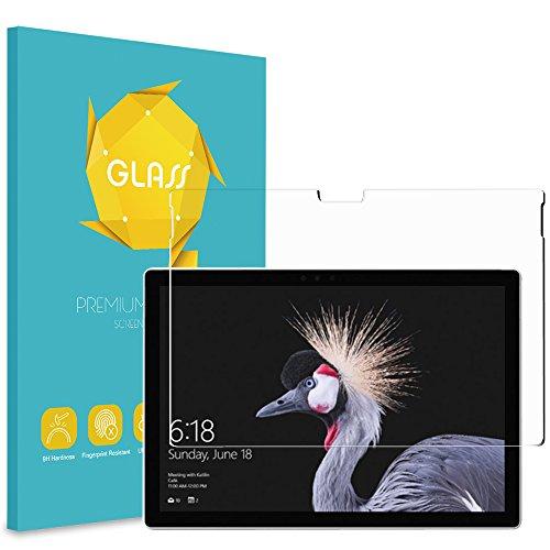 Fintie Panzerglas Schutzfolie für Microsoft Surface Pro 6 - [9H Festigkeit] [Anti-Kratzen] [Kristall-klar] [Bläschenfrei zu Montage] Glas Folie Bildschirmschutzfolie für Surface Pro 2017/ Pro 4 12.3'' Tablet
