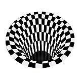 3D Area Rug Floor Mat Illusion Non Slip Area Rug, 3D Visual Vortex Optical Illusions Floor Rug,Black White Plaid Round Rugs for Lvining Bedroom Decoration Home Decor (6060cm(Illusion Experience-3))