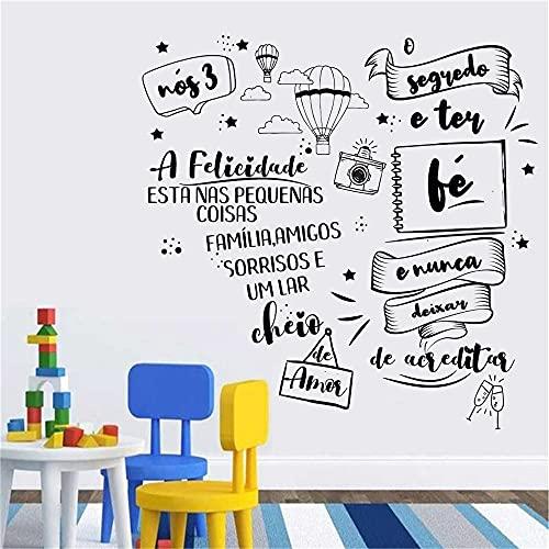Zdklfm69 Pegatinas de Pared Adhesivos Pared Cita Portuguesa Pegatinas de Vinilo murales para el Cartel de la decoración del hogar de la Sala de Estar 110x110cm
