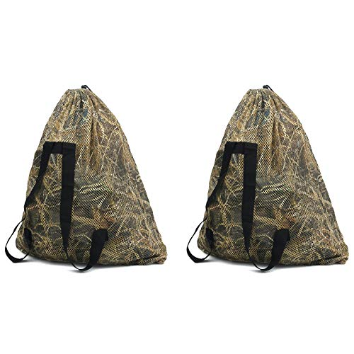 Auscamotek Mesh Duck Decoys Bags with Waterfowl Hunting Blinds Goose Decoy Backpack Large (2 Pack)