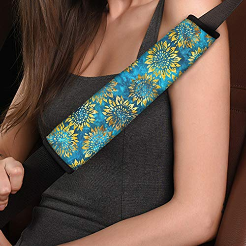 Dreaweet Native Sunflower Print Seat Belt Shoulder Pad for Driving, Compatible with Adults Youth Kids, Fit for Car, Truck, SUV, Airplane, Backpack Straps 2 Packs
