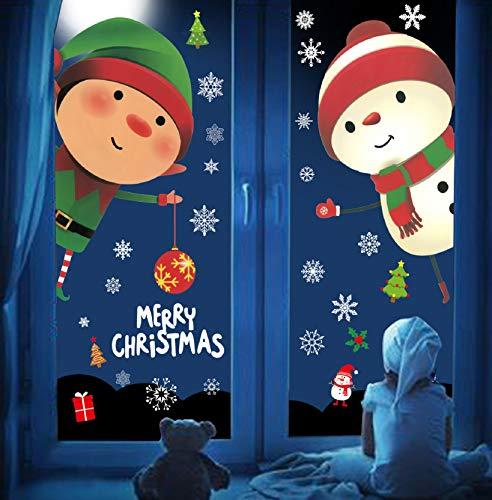 Tuopuda Natale Vetrofanie Adesivi Rimovibile Statici Stickers Murali Vetrina PVC Renna Alce Babbo Pupazzo di Neve Fiocchi Christmas Fai-da-Te Deco Natalizi Finestre Decorazione per Negozio Panetteria