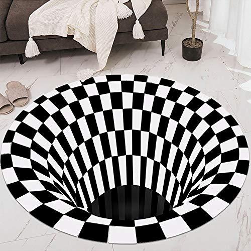 Große Fläche Teppiche für Wohnzimmer Schlafzimmer innen rutschfeste weiche gemütliche Teppich Schwarz-Weiß-Gitter-Wirbel-3D-Druck Anti-Rutsch-Klassenzimmer Türmatten Wohnkultur, 160 × 160 cm