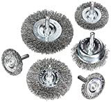 Wire Wheel Cup Brush Set, Coarse Crimped Carbon Steel, 1/4 in...