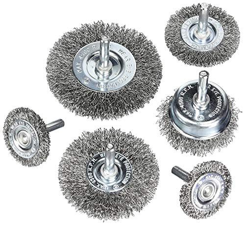 Wire Wheel Cup Brush Set, Coarse Crimped Carbon Steel, 1/4 in Round Shank for Drill – 6 pcs. Set by ALimuis