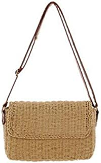 GSERA Damen Umhängetasche Handgemachte Exquisitheit Strohsäcke Mini Woven Flap Sweet Pastoral Rattan Girls Bag
