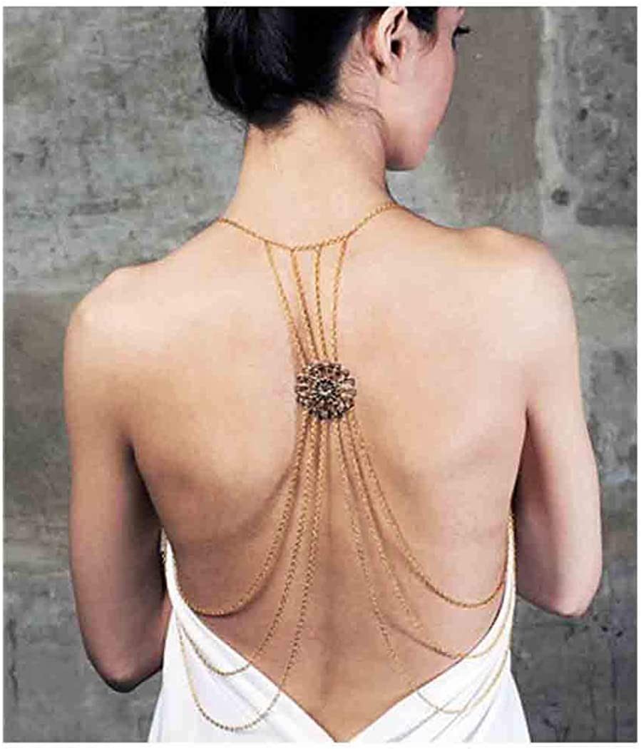 Olbye Gold Shoulder Chain Back Necklace Jewelry Layering Tassel Bra Chain Necklace Beach Sexy Body Chain Beach Party Dress Jewelry for Women and Girls