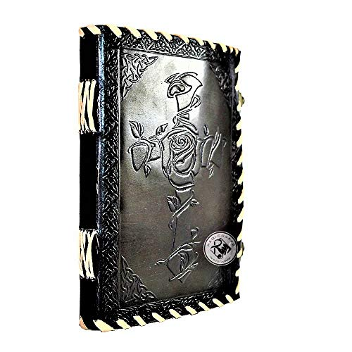 Premium Leather Journal Notebook Travel Diary for Gift - Vintage Handmade   Emboss Celtic Cross Rose Cross. Memory Book of Shadows Gift Idea Man Woman (8x6 in) Black