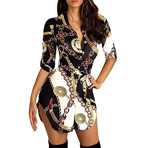 AMhomely Ladies Dresses Fashion Womens Lapel Printing Five Quarter Sleeve Blouse Loose Shirt Tops Dress Promotion UK Size Shiping Within 7-12 Days Gold
