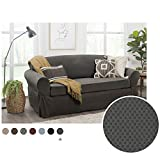 MAYTEX Pixel Ultra Soft Stretch 2 Piece Furniture Cover Sofa Slipcover, Charcoal