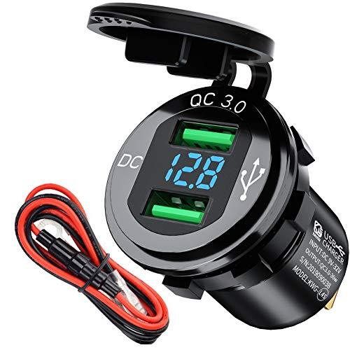 Auto Ladegerät 12V USB Steckdose,KFZ-Ladegerät Quick Charge 3.0 Metall Wasserdicht USB Einbau Buchse für Motorrad,Wohnwagen,Boot,LKW