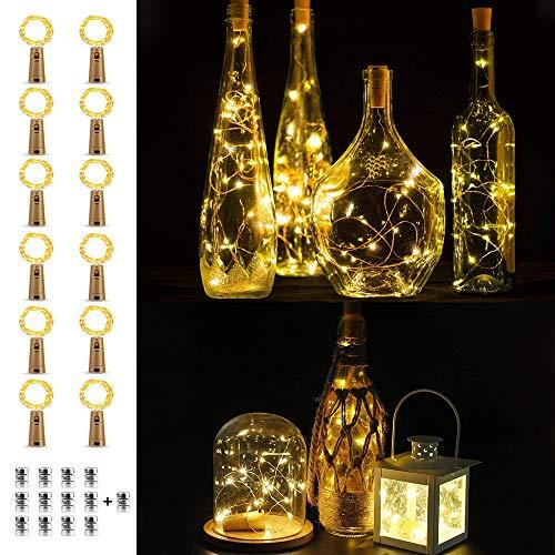 Cadena de luces con corcho, 12 unidades, cadena de luces LED, botellas, cadena de luces corta con batería, 2 m de cadena de alambre para decoración de vacaciones, botellas, fiestas, regalo