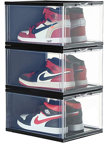 Stackable Shoe Organizer Clear Plastic 3 Pack Shoe Boxes for Display Shoes Sneakers Storage Black