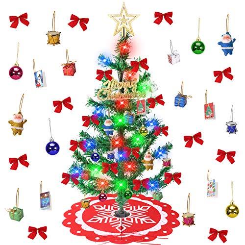 Minterest Arbol Navidad Pequeño, 24 Pulgadas Mini Arbol de Navidad con Luces Incorporadas 33 Piezas Decoración Arbol de Navidad Artificial con Falda de Arbol de Navidad
