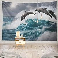 ANLAI 波に飛び込む海の水と海の獣壁掛けタペストリー ンンド 壁飾り 家 リビングルーム ベッドルーム 部屋 おしゃれ飾り 150cm x 100cm