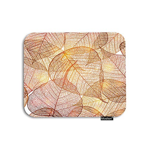 Moslion Leaf Mouse Pad Vintage Autumn Sunlight Over Gold Leaves with Lines Stripes Gaming Mouse Pad Rubber Large Mousepad for Computer Desk Laptop Office Work 7.9x9.5 Inch