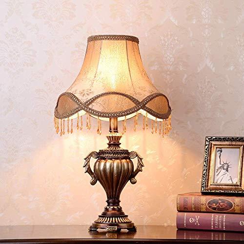 Lámpara Escritorio Lámpara de mesa de estilo europeo, lámpara de noche para dormitorio, princesa romántica, lujo, personalidad creativa, lámpara de sala de estar, aprendizaje simple, 33 * 55 cm