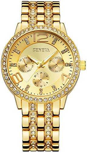 Fanmis Geneva Alloy Band Quartz Watches Luxury Unisex Crystal Stainless Steel Band Bracelet Wrist Watch (Gold)