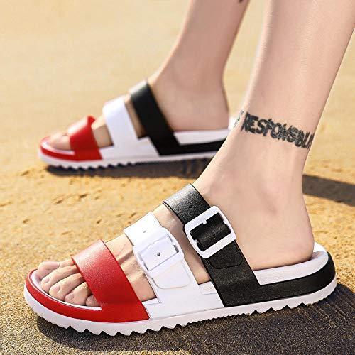 Ririhong Nuevas Zapatillas para Hombre, Ropa para Exteriores, Sandalias Casuales Antideslizantes, Sandalias y Zapatillas de Playa de Verano-7.5_1812_Black_Red