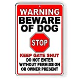Promini Warning Beware of Dog Stop Do Not Enter Keep Gate Shut Metal Sign 8x12 Inch Aluminum Sign