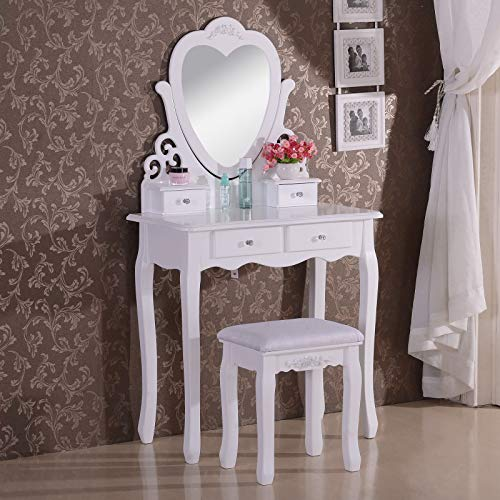 Hite - Tocador de maquillaje con mesa Dres, color blanco y cajones en S y cómoda