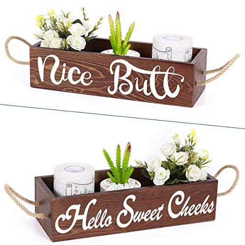 Ginnus Nice Butt Bathroom Decor Box Toilet Paper Storage Farmhouse Rustic Wooden Home Decor, Funny Toilet Paper Holder Perfect for Home Decor, 2 Sides