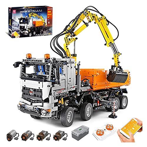 Camión de remolque técnico con funciones eléctricas, camión grúa neumática motorizada RC de 2.4G 4 canales, 8238 piezas de bloques construcción compatibles con Lego Technic 53 * 40 * 17cm