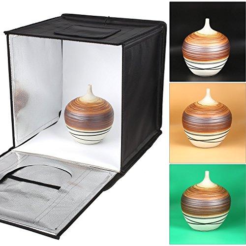 MVPOWER Studio Fotografico per Oggetti Tenda Portatile con 50w Luce LED, 40x40x40cm, 4 Sfondi Bianco, Nero, Arancione, Verde